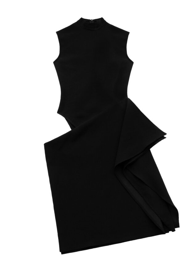 Cut-Out Draped Dress in Blac