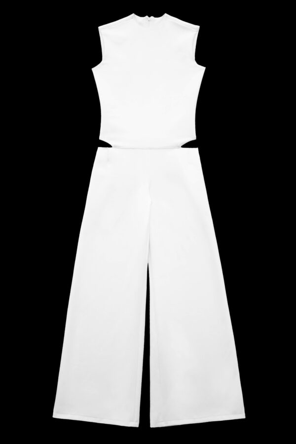 White Cut-Out Wool Crepe Jumpsuit