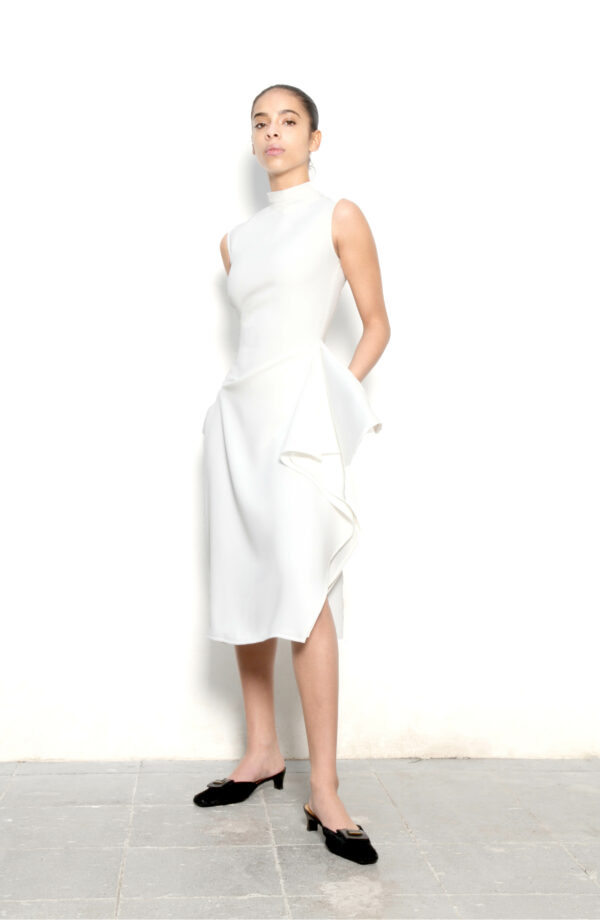 Draped Cut-Out Wool Dress in White