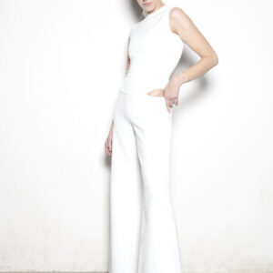 White Wool Crepe Cut Out Jumpsuit